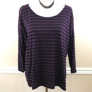 Michael Stars Purple Striped Scoop Neck Top OS